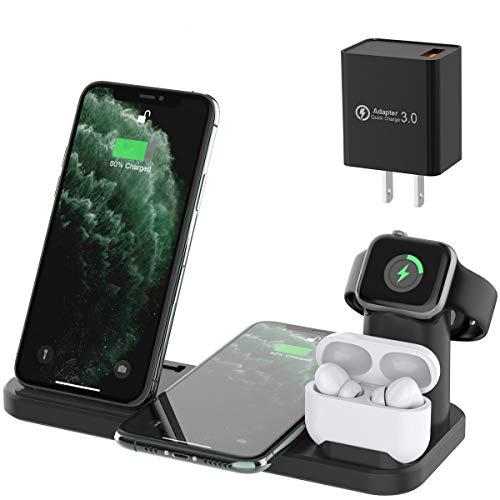 4 in 1 Caricatore Wireless, Caricabatterie Senza Fili Compatibile iWatch 5 4 3 2 1 & Airpods Pro 2 1, Ricarica Rapida Wireless per iPhone 11 11 Pro 11 Pro Max XR XS Xs Max X 8 Plus 8 Samsung S20 S10
