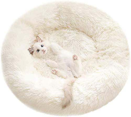 Cama para mascotas, cama para perro, cama redonda para gato, almohada para perro, sofá para perro, lavable, antideslizante, apto para gatos y perros de 50 cm (blanco)