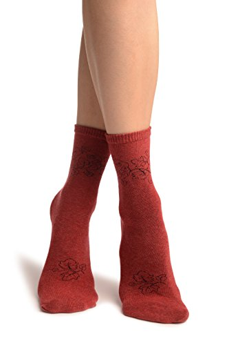 LissKiss Hedera Leaves On Red Ankle High Socks - Rot Socken Einheitsgroesse (37-42)