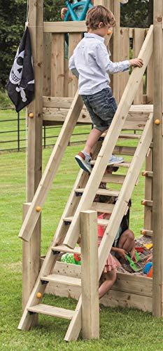 Gartenwelt Riegelsberger Premium Treppe mit Handlauf für kleine Kinder Holztreppe für Spielhaus Spielturm TÜV geprüft Podesthöhe 150 cm, Kiefer imprägniert