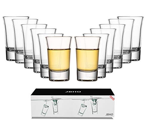 JBHO Heavy Base Shot Glass Set With Holder, Standard 1.5 Ounce,Set of 12,Giftable Packing for Whiskey, Tequila, Vodka and DIY
