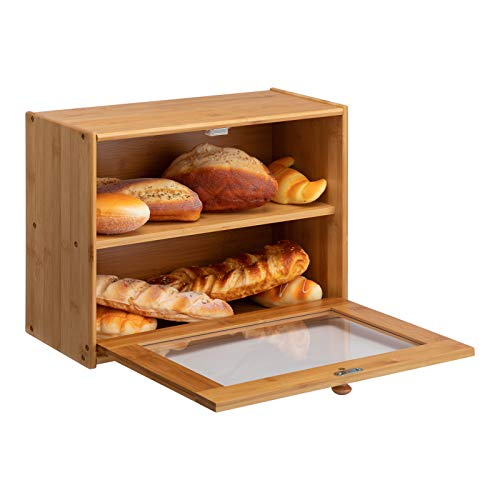 PARANTA Bamboo Bread Box 2-Layer Large Capacity Countertop Bread Storage With Transparent Window, Suitable For Kitchen Or Dining Natural