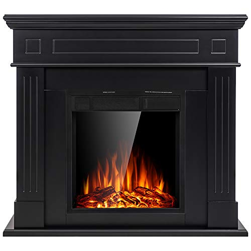 JAMFLY Electric Fireplace Wall Mantel in Faux Stone, Birch Wood Heater with Multicolor Flames, TV...