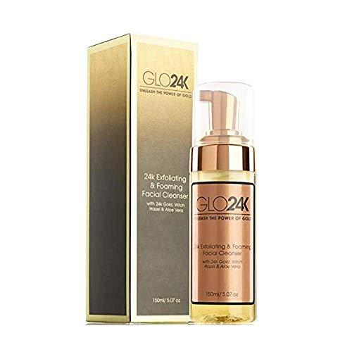 GLO24K Limpiador facial exfoliante y espumante con oro de 24 k, hamamelis y...