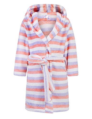 Bricnat - Accappatoio da bambina/ragazza, con cappuccio, in tinta unita, a pois, rosa/viola/blu/a righe Strisce colorate. 110 cm