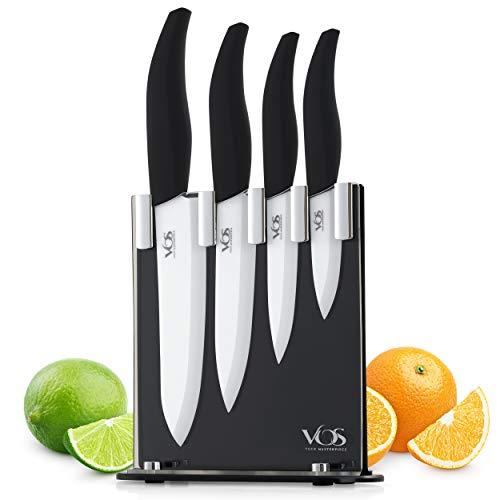 Vos Ceramic Knife Set with Knife Block Holder - 4 Piece Knife Set - Chef Knife, Utility Knife, Paring Knife and Multi-Purpose Knife - Lightweight Sharp Knives with Black Handle - Elegant Gift Box