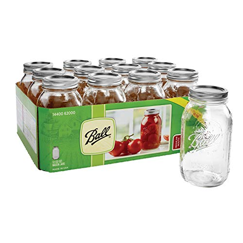 Ball Glass Mason Jar with Lid & Band, Regular Mouth, 32 Ounces, 12 Pack