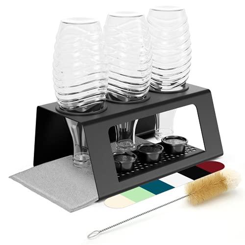 Support pour bouteilles Sodastream fabriqué au Tyrol, égouttoir compatible avec Soda Stream Crystal, Duo, Easy, Fuse, Sodastar UVM + brosse à bouteille, 2 tapis dégouttage, picots antidérapants