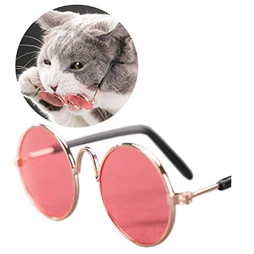 Stock Show Funny Cute Dog Cat Retro Fashion Sunglasses Mosaic Glasses Transparent Eye-wear Protection Puppy Cat Teacher Bachelor Cosplay Glasses Pet Photos Props for Small Dog Cat, Pink