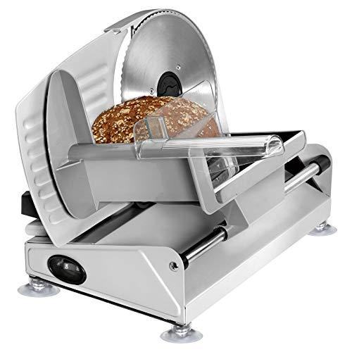 Wurstschneidemaschine Elektrisch Edelstahl Allesschneider Brotschneidemaschine Klappbar (Wurstschneider, Schneiddicke 0-15 mm, Wellenschliff, Fester Stand, Elektromesser)