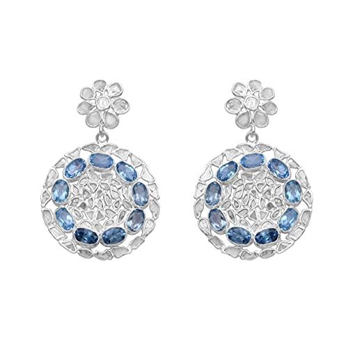 Shine Jewel 6.5 CT Slice Diamond Topacio azul Pendientes colgantes Platino plateado 925 Joyas de piedras preciosas de plata esterlina Regalo de boda para novias