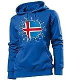Golebros Island Iceland Fan Artikel 5719 Fuss Ball EM 2020 WM 2022 Hoodie Pulli Sweatshirt Kapuzen Pullover Flagge Fahne Team Frauen Damen Mädchen Girls L