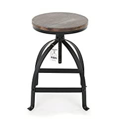 Natural pinewood top, look rustic but comfortable & anti-scratch Smoothly swivel for 15 cm height adjustable and screws to immobilize Thick steel frame for sturdy & stable usage With footrest to put your feet when seated