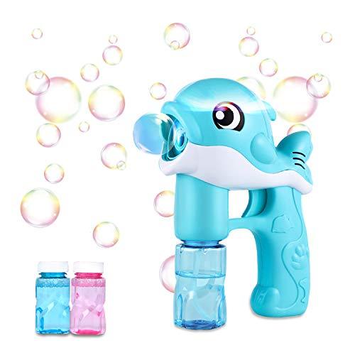 Pistola de Pompas de Jabón Burbujas de Jabon Niños,LED Maquina Pompas Jabon Con 2 Botellas Pompas de Jabón, Juguete de Baño Pomperos para Niños 3 - 12 Años Regalos Cumpleaños Burbujas Jardin (azul)