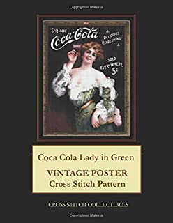 Coca Cola Lady in Green: Vintage Poster Cross Stitch Pattern