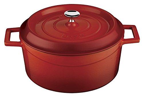 Lava Cookware LV Y TC 24  Gusseisen Kochgeschirr mit Deckel , rot , Durchmesser 24 cm
