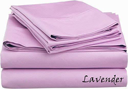 Tula Linen 600 Hilos 6 Piezas Juego de sábanas 100% algodón Egipcio Premium Calidad tamaño debolsillo 42 cm (sólido Color Lavanda UK King Size 150 x 200 CM)