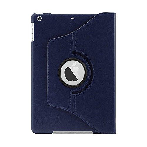Khomo PU-leer 360 graden draaibare standaard beschermhoes met magnetische Smart Cover voor nieuwe Apple iPad Air - blauw