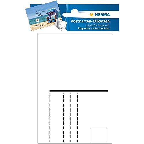 Herma 7758 Postkarten Etiketten, 95 x 145mm (4 Packungen á 10 Karten = 40 Postkarten)