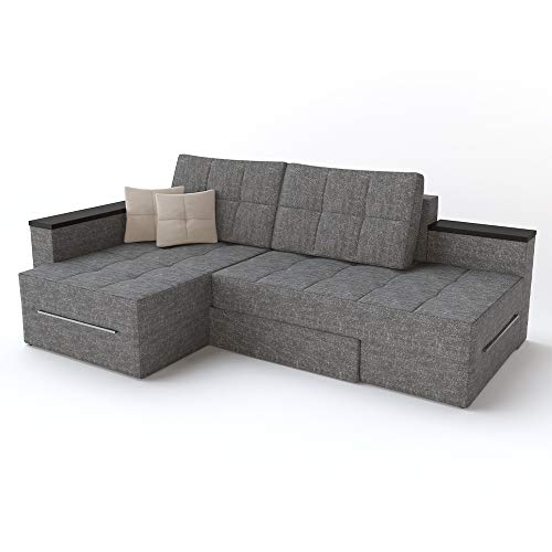 VitaliSpa XXL Ecksofa mit Schlaffunktion 240 x 160 cm Grau - Eckcouch Relax Sofa Couch Schlafsofa Schlafcouch Taschenfederkern