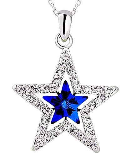 Vrouwelijke ster ketting - vrouw - steen - glitter - gekleurd - lichtpunten - zilver - kerstmis - origineel cadeau idee strass
