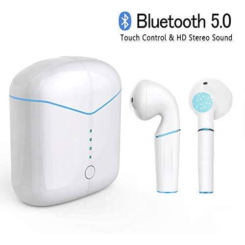 Auriculares inalámbricos Bluetooth, 6D Sonido estéreo, 15-20m, Auriculares inalámbricos V5.0 con micrófono, Estuche de Carga portátil, Compatible con iOS y teléfonos Inteligentes y tabletas Android