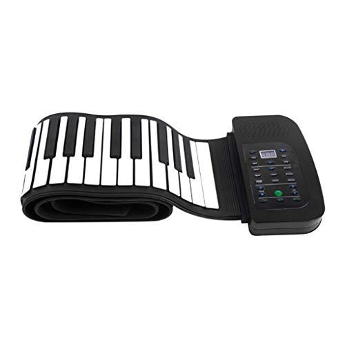 Hand gerollt Klavier, tragbares 88-Tasten-Tastatur Klavier, Falt-Tastatur Hand gerollt elektronisches Klavier, Silikon-Gummiband mit Batterieunterstützung Pedal Musikbildungsinstrument, 1000mA Lithium