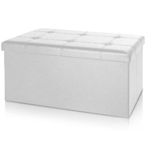 Deuba Banco y Baúl de Almacenamiento Plegable Blanco 100L 80x40x40cm Asiento Puff Otomana Cofre
