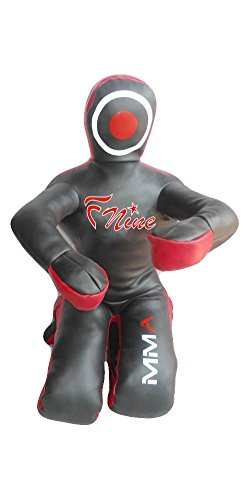 FNine Grappling Dummy MMA Wrestling Boxsack Judo Kampfsport ungefüllt (schwarzes Syn-Leder, 150 cm)