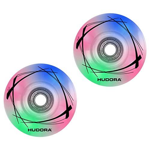 HUDORA Unisex Jugend 85063 2 LED Ersatzrollen, 58mm x 33mm für Roller Skates, bunt, 1