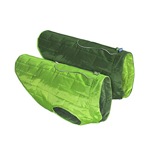 Kurgo Loft Jacket, Reversible Dog Coat, Dog Coat for Cold Weather, Water-Resistant Dog Jacket with Reflective Trim, Greenery/Forest Green, Medium