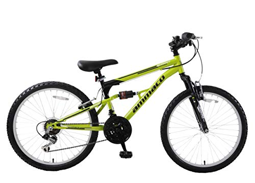 Ammaco. Summit 24' Wheel Boys Kids Dual Full Suspension Mountain Bike 14' Frame 18 Speed Green Black...