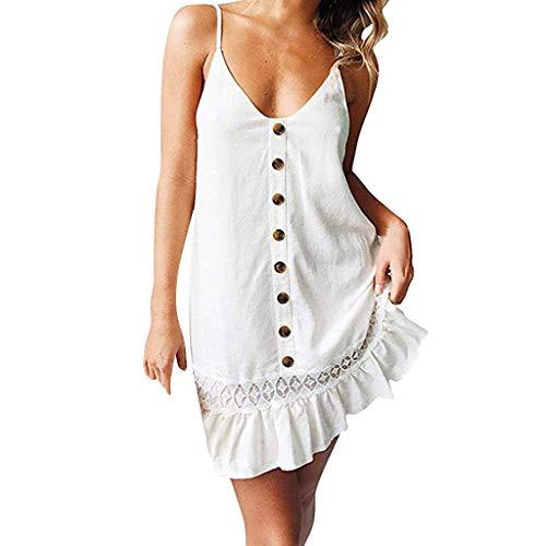 iYmitz Mode Damen Sommerkleid Tasten Solide Aus der Schulter Ärmelloses V-Ausschnitt Kleid Getäfelten Heißer Elegant VintageStrandkleid