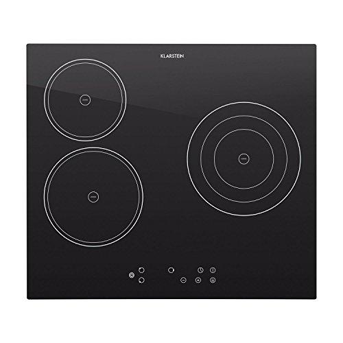 Klarstein Virtuosa - Plaque de cuisson encastrable avec 3 plaques en vitrocéramique d'une puissance totale de 5300W (minuterie, protection surchauffe, reconnaissance de casserole)