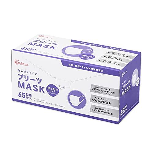 アイリスオーヤマ マスク 不織布 プリーツマスク ゆったり大きめサイズ 65枚入 PN-NV65LL ホワイト