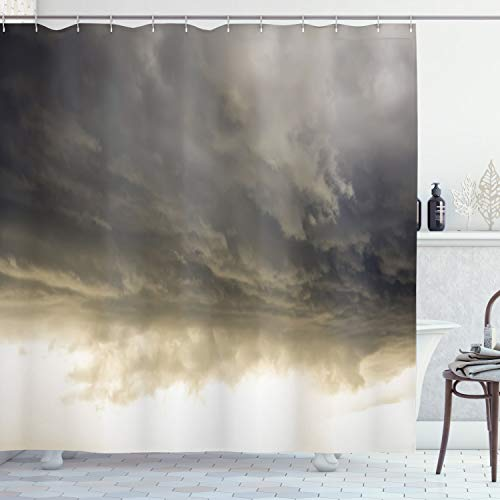 Ambesonne Clouds Shower Curtain, Heavy Storm Clouds in Dark Sky Hurricane Weather Cloudscape Mass of Liquid Droplets Image, Cloth Fabric Bathroom Decor Set with Hooks, 75″ Long, Grey