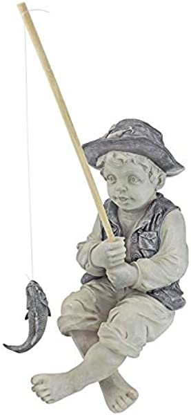 Design Toscano Frederic The Little Fisherman Of Avignon Boy Fishing Garden Statue 15 Inch Polyresin Two Tone Stone