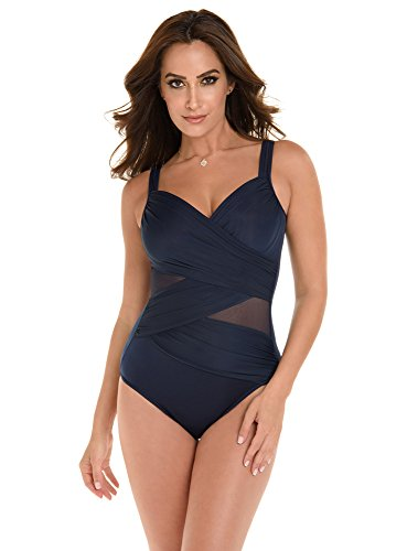 Miraclesuit Women's Swimwear DD-Cup Network Madero Tummy Control Underwire Bra Mesh Inset One Piece Swimsuit, Midnight, 14DD