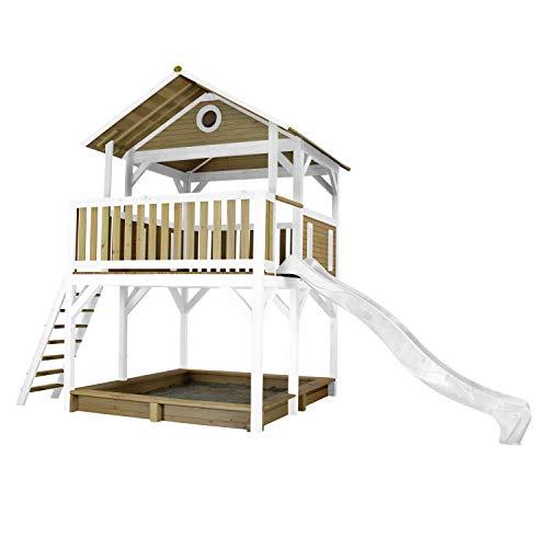 AXI Spielhaus Simba mit Sandkasten & weißer Rutsche | Stelzenhaus in Braun & Weiß aus FSC Holz für Kinder | Spielturm mit Wellenrutsche für den Garten
