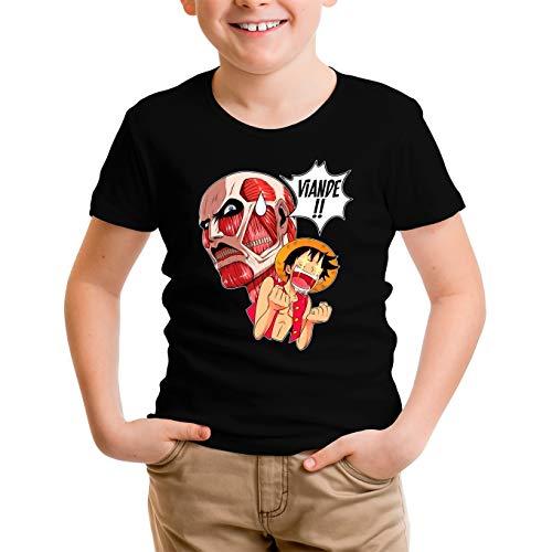 T-Shirt Enfant Noir One Piece - Attaque des Titans parodique Luffy VS Titan Colossal : Viande !!!! (Parodie One Piece - Attaque des Titans)