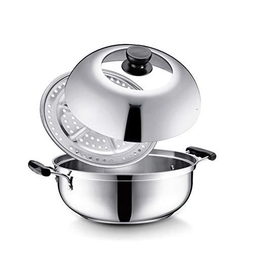 SZQ-Ollas Rectas Multifuncional Vapor Pot, 28cm de diámetro 1 Nivel aislada y Manilla Exterior Barbacoa de Cocina Utensilios de Cocina de Camping,Olla Multifuncional (Color : Silver, Size : 28)
