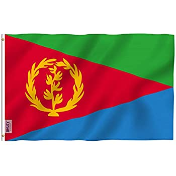Anley Fly Breeze 3x5 Feet Eritrea Flag - Vivid Color and Fade Proof - Canvas Header and Double Stitched - Eritrean Flags Polyester with Brass Grommets 3 X 5 Ft