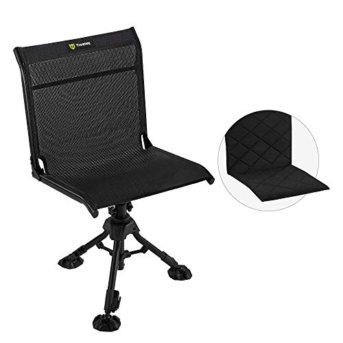 TIDEWE Hunting Chair with Seat Cover, 360-Degree Rotation Silent Swivel Blind Chair, Adjustable Height Fold Up 3 Legs Hunting Seats, Portable Comfortable Stable Ground Hunting Chair