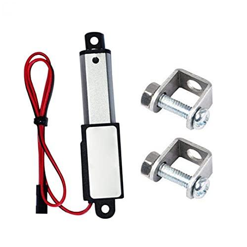 Micro Lineal Actuador Mini eléctrico Impermeable con Soportes de Montaje 12V 60N Longitud de Carrera de 50 mm Velocidad 15mm