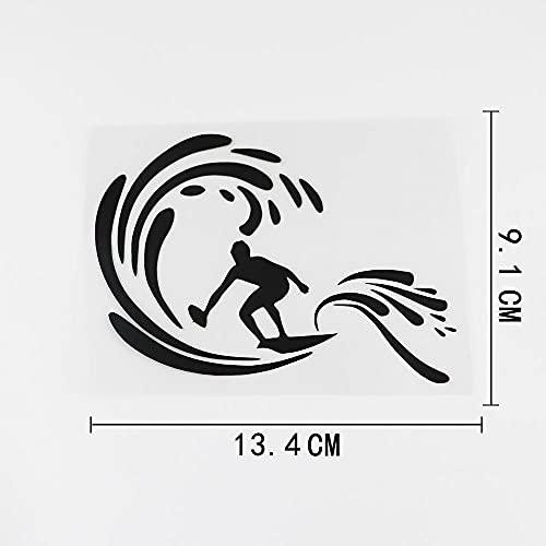 JKGHK Pegatina de coche para tabla de surf extraíble de 2 unidades, vinilo adhesivo para coche, color negro y plateado 13 4 x 9 1 cm