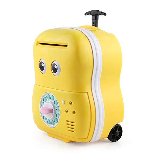 ZAKRLYB Contraseña para niños Máquina de rodillo de monedas automática Máquina de monedas, Maleta de plástico portátil dibujado a mano, función de verificación de dinero, función de sonido de contrase