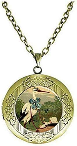 Handmade Fine Stork and Baby Carriage Locket Necklace Glass Jewelry Gift Art Picture Jewelry