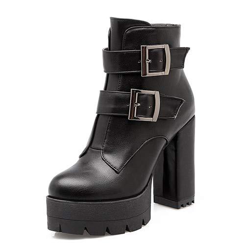 ACWTCHY Vrouwen Laarzen Platform Dames Casual Schoenen Zwart Hoge Hakken Rits Rood Lederen Laarzen