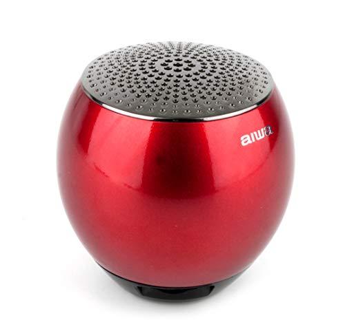 AIWA Atom Bluetooth-Lautsprecher|Tragberer Bluetooth Musikbox| Gehäuse aus gefräster Metalllegierung (rot)
