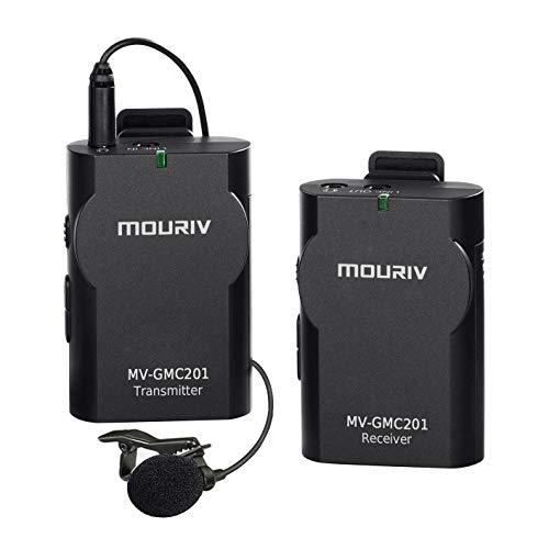MOURIV GMC201 2.4G Sistema de micrófono inalámbrico universal de solapa Micrófono de solapa con monitor en tiempo real para cámara réflex digital, videocámara, iPhone, teléfono con Android, Gopro3 4